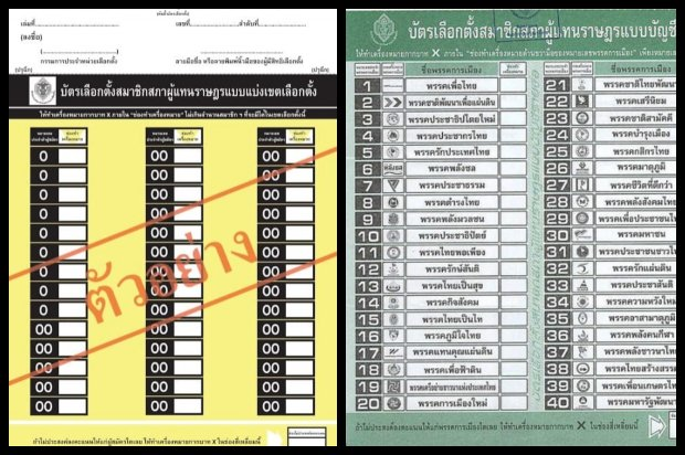 The ballot on the left, 'suggested' by the chief of the National Council for Peace and Order (NCPO), would have only candidate numbers. Traditionally ballots have resembled the one on the right, used in 2011, with party numbers and logos, with candidate names. NCPO chief Gen Prayut Chan-o-cha reportedly proposed a ballot with only candidate names and numbers.