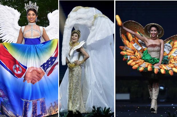 Among the most-noticed 'national costumes' shown by Miss Universe contestants Singapore's Trump-Kim, Thailand's elephant and Vietnam's ham sandwich basket.