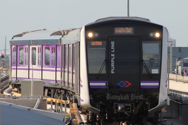 The Purple Line's 23.6km southern extension is to open in 2024 and run from Tao Pun to Rat Burana. (File photo)