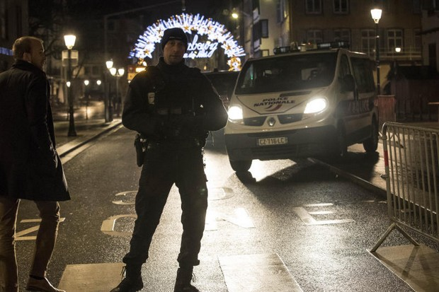 Emergency services patrol the centre of the city of Strasbourg following the  terror attack at the Christmas Market on Tuesday night by a man who had been flagged as a possible extremist.(AP Photo)