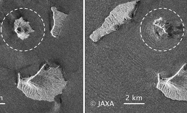 Then and now: Images taken on Aug 20 (left) and Dec 24 this year by the Japanese ALOS-2 satellite show how the Anak Krakatau volcano has changed. (Photo by Japan Aerospace Exploration Agency via EPA-EFE)