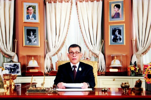 His Majesty the King appeared on national TV on Monday night. (Photo courtesy Royal Household Bureau)