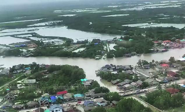 An aerial view of flood-ravaged Nakhon Si Thammarat