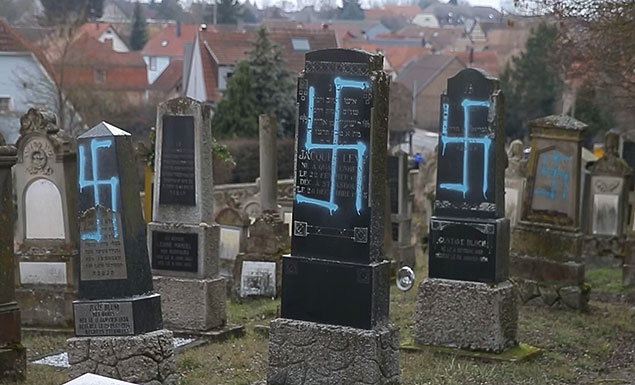 Vandals desecrate 90 Jewish graves in east France ahead of marches