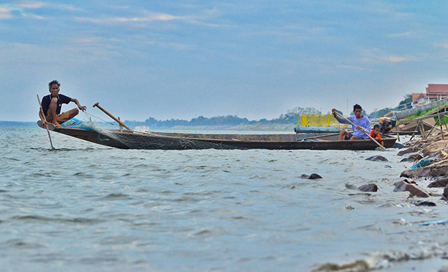 Mekong water turns greenish-blue