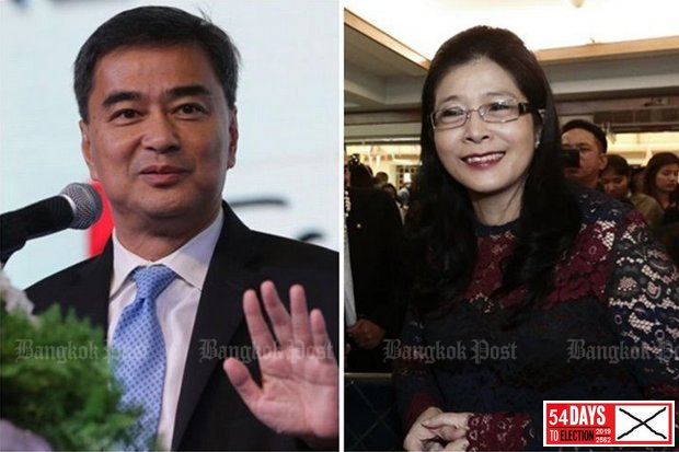 Khunying Sudarat Keyurapan's proposal to Democrat Party leader Abhisit Vejjajiva (left): Let's get together after the election to name a Pheu Thai MP as prime minister.