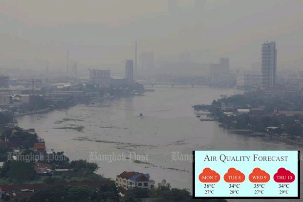 The thick haze hanging over Bangkok and surrounding provinces is seen in this aerial view over the Chao Phraya River in the Kiakkai area on Sunday. (Photo by Pornprom Satrabhaya)