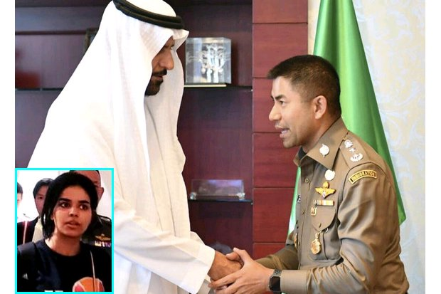 Immigration Bureau Chief Pol Lt Gen Surachate 'Big Joke' Hakparn shakes hands with Saudi charge d'affaires Abdullah al-Shuaibi before the two men discuss the fate of 18-year-old Saudi runaway Rahaf Mohammed al-Qunun (inset), who claims she is fleeing male domination. (Photo courtesy Royal Thai Police).