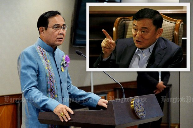 Prime Minister Prayut Chan-o-cha suggests again that Thaksin should return to Thailand to fight for his innocence in court. (Post Today photos)