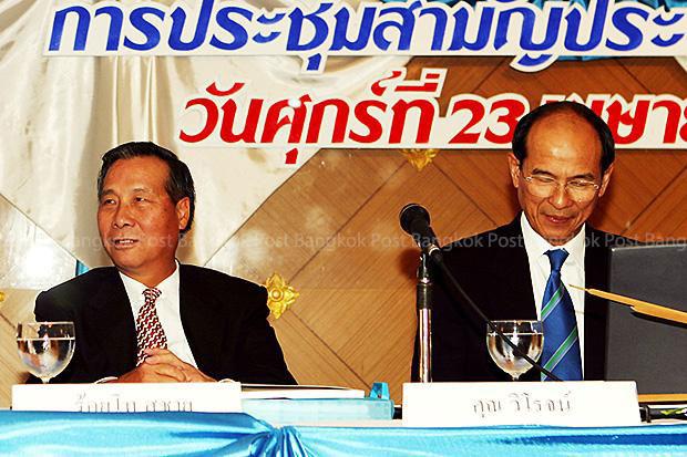Krung Thai Bank president Viroj Nuankae (right) and executive board chairman Suchai Jaovisidha (centre) at a bank meeting on April 23, 2004. (File photo)