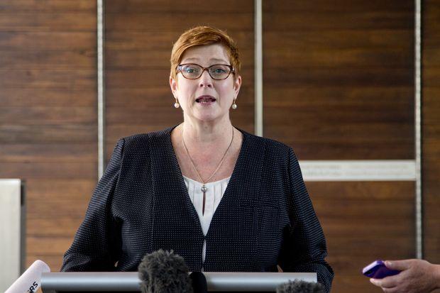 Australia's Foreign Minister Marise Payne addresses media in Bangkok on Thursday. (AP photo)