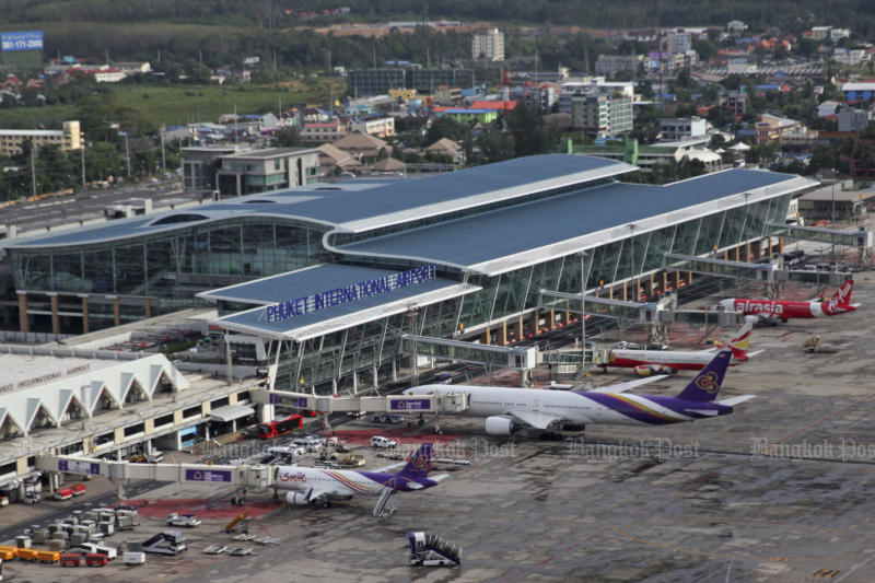 A view of Phuket airport. The first mass transit line in Phuket will run from the airport to Chalong intersection. (Bangkok Post photo)