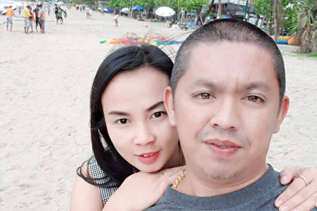 Teerapon Pinamon with his wife, Kanyarat Kingkaew, in an undated photo released by police.