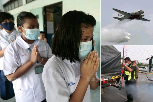 Clockwise from left: Our school children in anti-smog masks, an Air Force BT-67 fire-fighting plane drops water over Don Mueang airport, and police assist land transport officers to confirm a lorry is emitting visible exhaust fumes. (Photos by Patipat Janthong, Pornprom Satrabhaya, Apichit Jinakul)