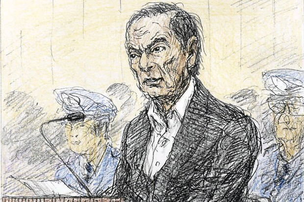 Carlos Ghosn in court, in a sketch made on Jan 8. (AP)