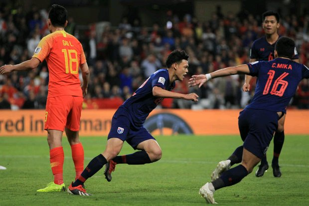 Thailand fall to China at Asian Cup