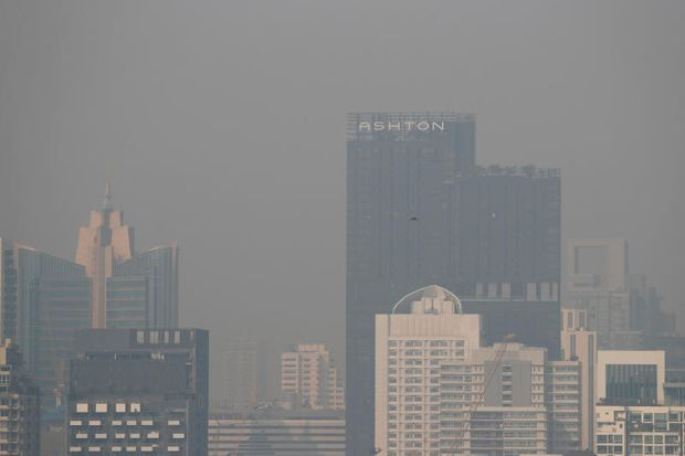 The skyline is seen through polluted air during a poor air quality day in Bangkok on Monday. (Reuters photo)
