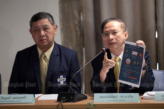 President Dr Pongpat Pathanwanit (right) and Dr Paiboon Eksaengsi, secretary-general of the Private Hospital Association, voice their disagreement to price control at private hospitals in Bangkok last week. The cabinet on Tuesday approved price control on medicines and medical services and supplies. (Photo by Chanat Katanyu)