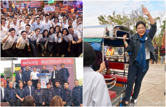 (Clockwise) Future Forward Party introduces Bangkok MP candidates on Saturday, Khunying Sudarat Keyuraphan of Pheu Thai on her campaign trail to the North early this month and Anutin Charnveerakul of Bhumjaithai opens a branch in Bang Kae district, Bangkok, on Saturday. (Photos from social media)