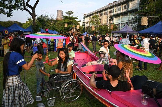 Members of Myanmar's lesbian, gay, bisexual, and transgender (LGBT) community take part in the Yangon Pride festival in Yangon on Saturday. (AFP photo)