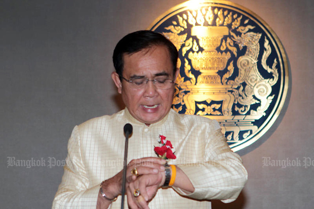 Prime Minister Prayut Chan-o-cha was on Wednesday unveiled as one of the Palang Pracharath Party's three candidates for the premiership after the general election. (Bangkok Post photo)