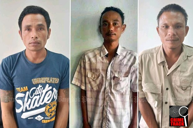 Alleged killers (from left) Thanin, Thawiphon, Narong. Police claim hitmen are easy to find in Phattalung: