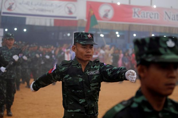 Soldiers of Karen National Union (KNU) march during the 70th anniversary of Karen National Revolution Day in Kaw Thoo Lei, Kayin state, Myanmar Jan 31, 2019. (Reuters photo)