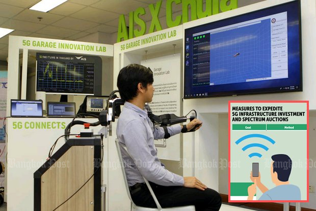 A robotic system is one of many futuristic projects being tested at the 5G AI/IoT Innovation Centre at Chulalongkorn University requires 5G internet. Mobile operators have been reluctant to bid for the required spectra for 5G networks. (Photo by Tawatchai Kemgumnerd)