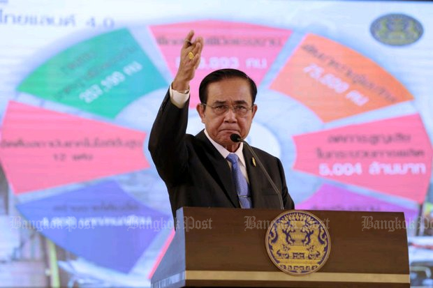 'Oust me if you can, jerk'. Prime Minister Prayut Chan-o-cha's outburst during his Feb 1 presentation of government achievements since the coup forced him to again apologise for his 'unpleasant' words. (Photo by Chanat Katanyu)