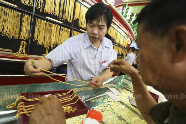 Gold prices fell B100 to B19,400