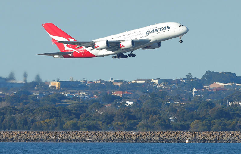 Qantas flight QF1, an Airbus A380-800 aircraft, takes off from Sydney International Airport en route to Dubai on Aug 22, 2017. (Reuters photo)