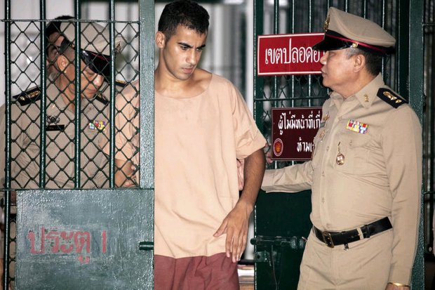 Hakeem al-Araibi is taken from a holding pen to the Criminal Court on Monday. His next extradition hearing is scheduled for April 22. (AP photo)
