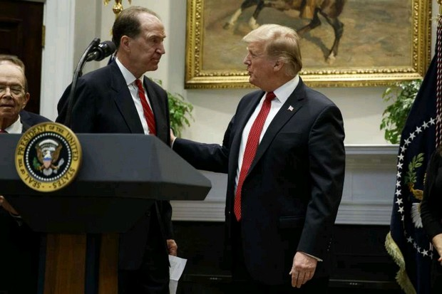 President Donald Trump congratulates David Malpass, under secretary of the Treasury for international affairs, after making the announcement he was nominating Mr Malpass to be head of the World Bank. (AP photo)