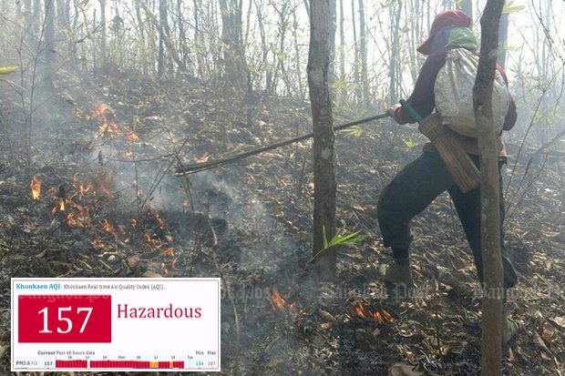 A firefighter combats a blaze set by farmers with plans to turn a lightly wooded area into crop plan. Inset shows the Air Quality Index for Khon Kaen Monday evening. (File photo)