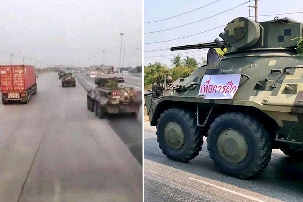 Authorities received so many fearful calls about a possible coup on Sunday that the army had to put reassuring 'On exercise' signs on their armoured personnel carriers indicating they were not taking part in a coup. (Photos provided)