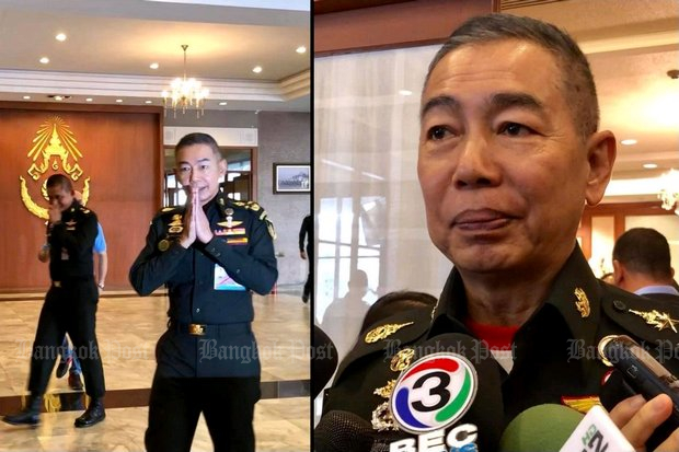 Army commander Gen Apirat Kongsompong wais the media before speaking with reporters. He blamed social media for inventing rumours of an impending coup. (Post Today photos)