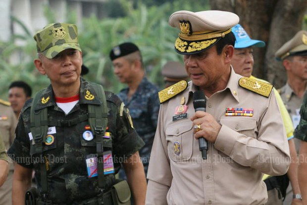 Army commander Gen Apirat Kongsompong appeared with Prime Minister Prayut Chan-o-cha Thursday to jointly open Integrated Disaster Management Exercise 2019 in Lop Buri. The appearance supposedly quashed rumours the army chief was considering a new coup. (Photo by Apichart Jinakul)