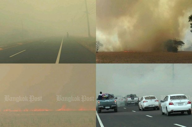This is what drivers near Khon Kaen encountered on Sunday, as sugar cane farmers conducted 'pre-harvest burning' of their crops. (Post Today photos)