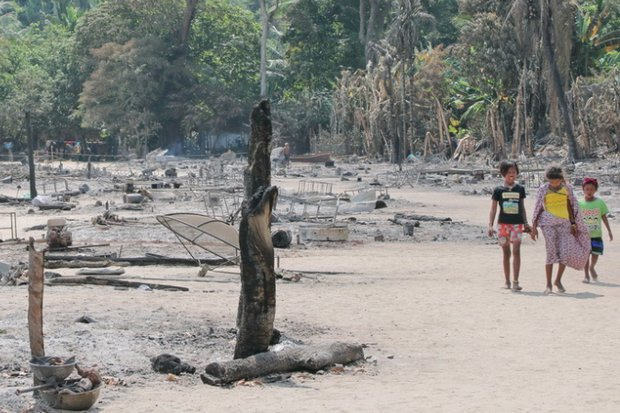 Still smoking on the morning after, the Moken village lost 61 homes, and left 273 members of the 70 households with nothing. (File photo)