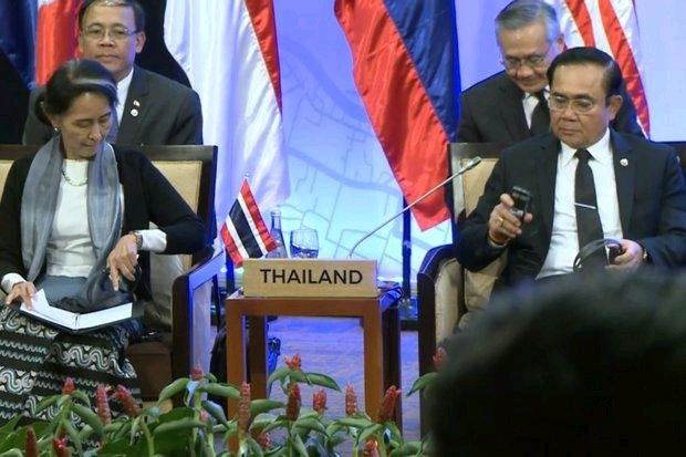 Myanmar's de facto leader Aung San Suu Kyi has discussed Rakhine state affairs with Prime Minister Prayut Chan-o-cha and other Asean leaders including, amidst signs of slow Asean progress. (Photo provided)