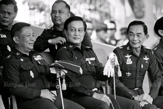 Coupmaker and subsequent National Peace-keeping Council (junta) chairman Gen Sunthorn Kongsompong, right, enjoys a moment with fellow coup plotters Gen Suchinda Krapayoon (centre) and Gen Issarapong Noonpakdee, in December, 1991. Within five months, the father of current army commander Gen Apirat Kongsompong had killed a still-unknown number of demonstrators in the Black May revolution as their last act in power. (File photo)