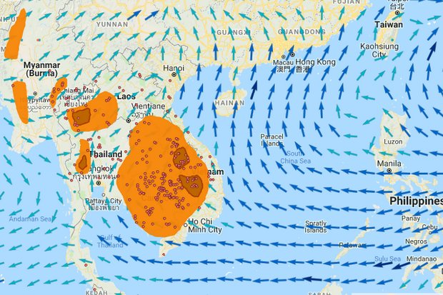 This map produced by the Asean Secretariat shows that 'haze' affected five of the 10 Asean member countries on Wednesday, yet the group has taken no action. (Graphic Asean.org)