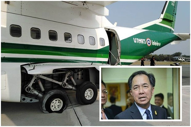 A tyre of a helicopter carrying Agriculture Minister Grisada Boonrach, officials and reporters to Nakhon Sawan for rain-making operation, bursts during an emergency landing on Friday morning. Nobody is injured. (Post Today photo)