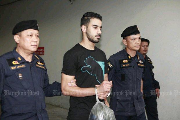 Hakeem al-Araibi is taken back to a detention cell after a court appearance during his Bangkok ordeal. (Photo by Pornprom Satrabhaya)