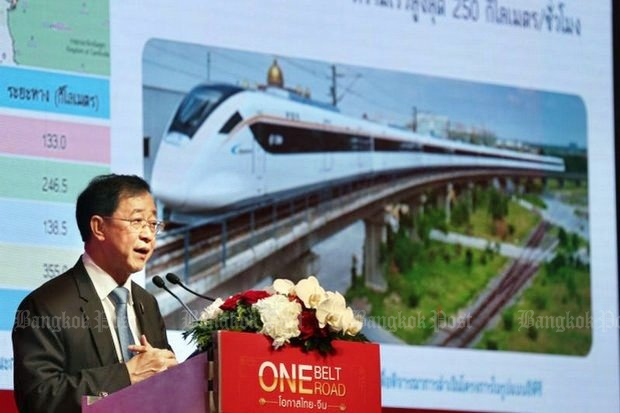 Arkhom Termpittayapaisith, Minister of Transport, said talks in Beijing broke down over complicated issues involving how to finance the 252.5-kilometre high speed railway between Bangkok and Nakhon Ratchasima. (File photo)