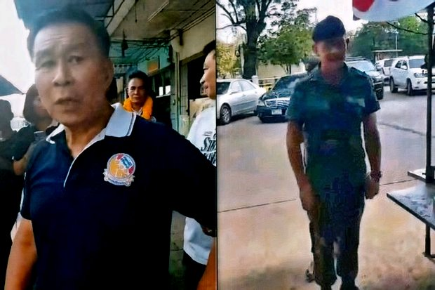 Pol Gen Seripisuth Temiyavej accused this soldier of stalking him while he was openly campaigning for his Seriruamthai Party. (Photo via Seriruamthai Party)
