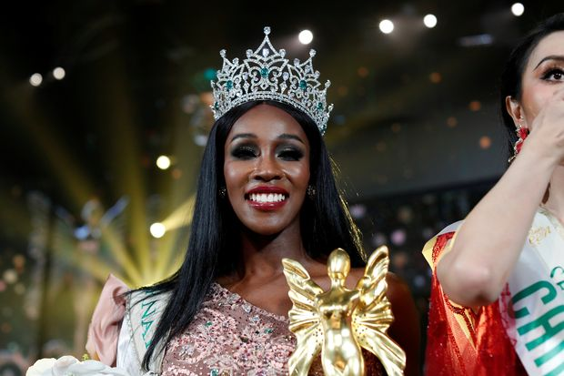 Winner Jazell Barbie Royale of the US smiles on stage during the final show of the Miss International Queen 2019 pageant in Pattaya on Friday. (Reuters photo)