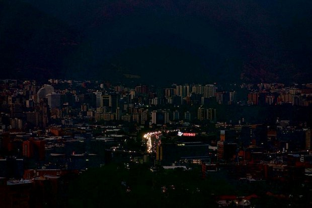 Caracas, on Saturday night. The Venezuelan capital and the entire country have been blacked out for four days.
