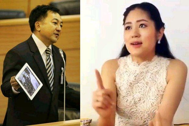 Democrat Party list-MP candidate Bunyod Sukthinthai (left) and Future Forward's spokeswoman Pannika Wanich both vowed that their parties are committed to completely revoke all media censorship edicts of the National Council for Peace and Order (NCPO).