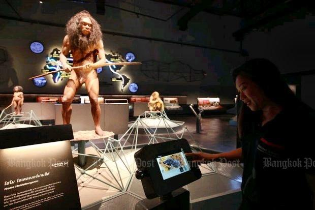 Dinosaurs and early humans are two of the interactive displays currently under tests at the King Rama IX Museum in Pathum Thani. The museum, which will be the largest in Asean, is set to officially open in November. (Photo by Somchai Poomlard)